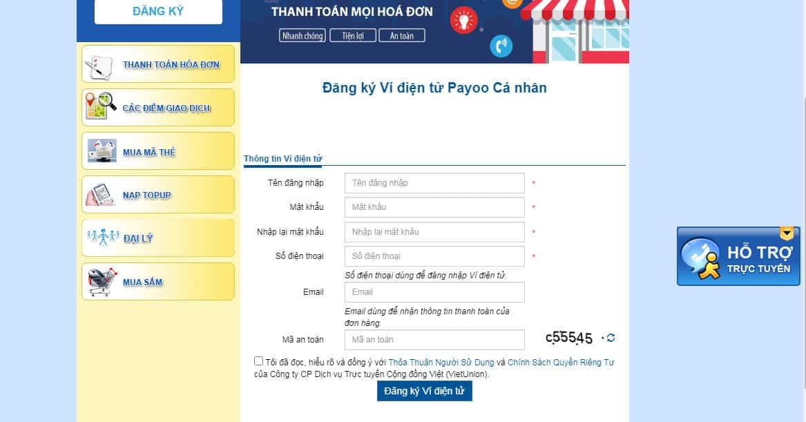 Màn hình thông tin đăng ký của ví Payoo